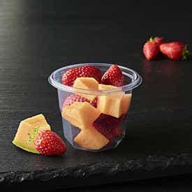 Coupelle de fraises et melon frais